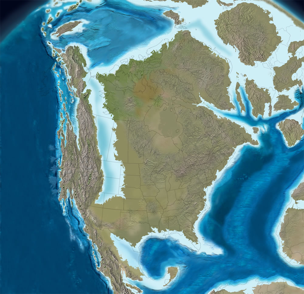 Cretaceous Time And Paleogeography - Map of united states during reconstruction